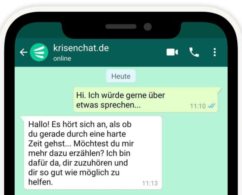 Krisenchat Whatsapp Screenshot - Beratung für Kinder und Jugendliche